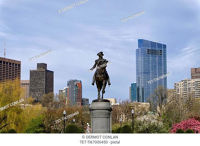 Massachusetts, Boston, Statue of George Washington in Boston Public Garden