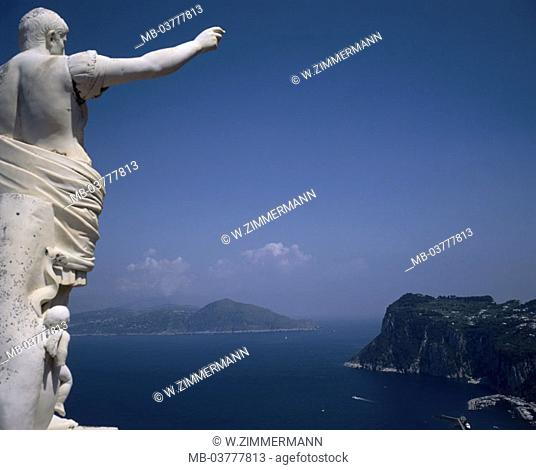 Italy, island Capri, hotel of Augustus,  Statue, detail, gaze, Marina Grande,  Amalfi, golf of Salerno, Europe, Southern Europe, South Italy, destination