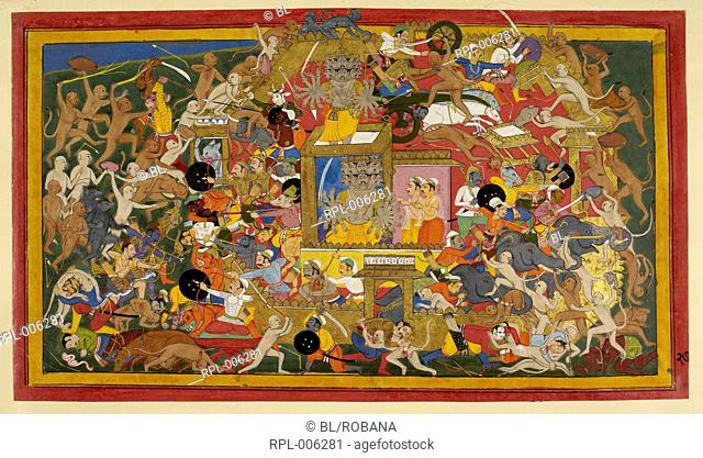 Battle scene at Lanka, The allies launch a general attack on Lanka, in which many marvellous feats of skill and daring are performed