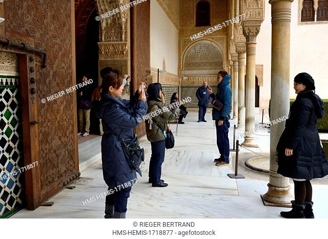 Spain, Andalusia, Granada, Alhambra Nasrid Palace, listed as World Heritage by UNESCO, Comares Palace, the Court of the Myrtles (Patio de los Arrayanes)