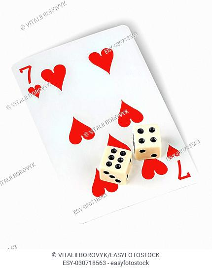 Playing card and dices isolated on white background
