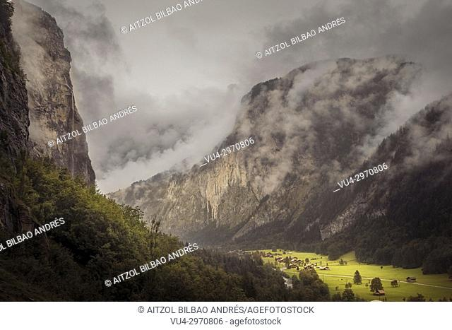 The magic of the Lauterbrunnen valley, Switzerland. The clouds are so normal in this valley