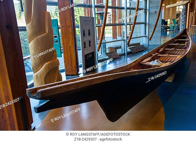 One-piece, ocean-going, dug-out cedar canoe on display at the Aboriginal Cultural Centre in Whistler, British Columbia