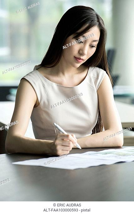 Office worker doing paperwork