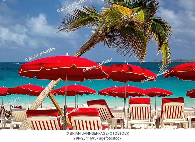 Umbrellas along Orient Beach, Saint Martin, West Indies