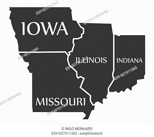 Iowa - Missouri - Illinois - Indiana Map labelled black illustration