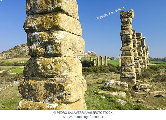 Archaeological remains of a Roman aqueduct, Layana, zaragoza, Aragon, Spain