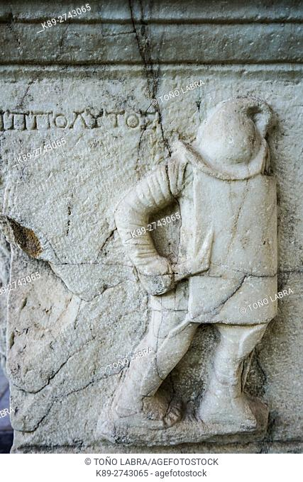 Gladiator Grave Stele. (Early Roman Period). Ephes Museum. Classic Greek Collection. Asia Minor. Turkey