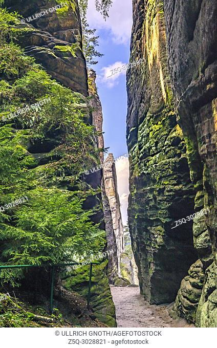 Bohemian Paradise, Cesky Raj, Czech Republic - Hiking trail among the Prachov Rocks (Prachovske Skaly)