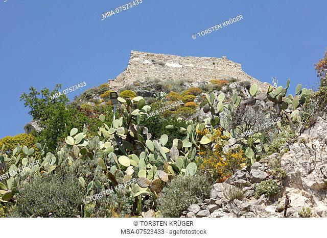 Castello Sarazeno on Monte Tauro, Saracen castle above Taormina, Province of Messina, Sicily, Italy, Europe