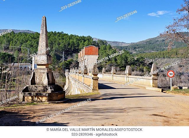 Dam of Vado reservoir in the Sierra Norte. Guadalajara. Castilla la Mancha. Spain. Europe