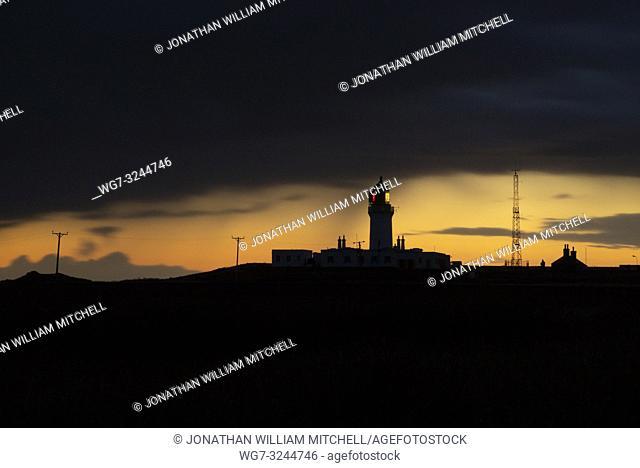NOSS HEAD, SCOTLAND, UK - August 13, 2017: Noss Head lighthouse at dawn at Noss Head near Wick in Caithness Scotland UK