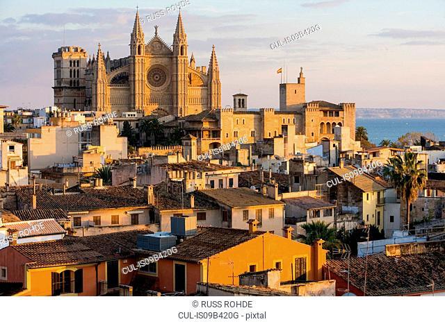 Cityscape with La Seu Cathedral and rooftops, Palma de Mallorca , Majorca, Spain