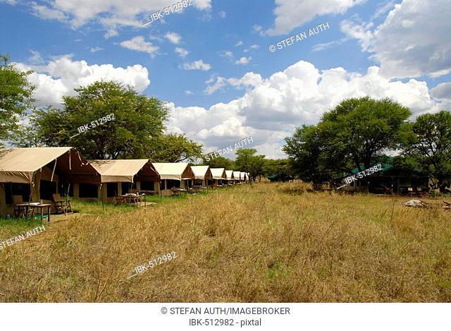Tented Lodge in the savannah Serengeti National Park Tanzania