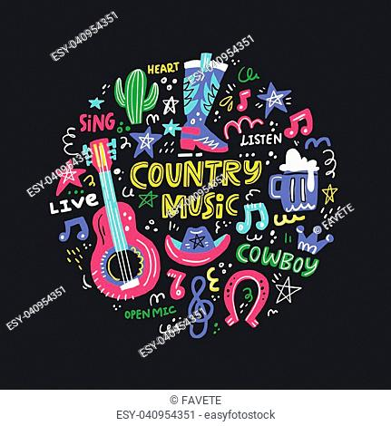 Circle concept with symbols of country music and lettering in the center