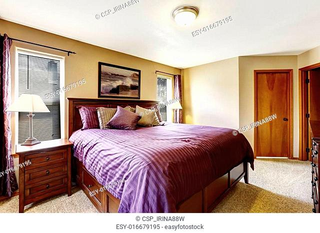 Luxury Bedroom Furniture With Bright Purple Bedding