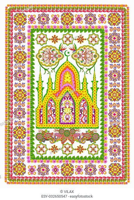 Rug for a islamic prayer in Persian Sunflowers style. Abstract handmade collage from summer flower on white background