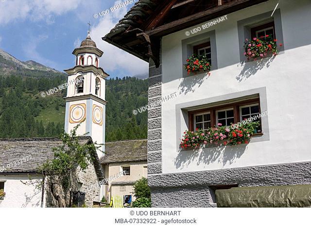 Village church Jakobus and Christophorus in the mountain village Walser settlement Bosco Gurin, Val di Bosco, Vallemaggia, Ticino, Switzerland