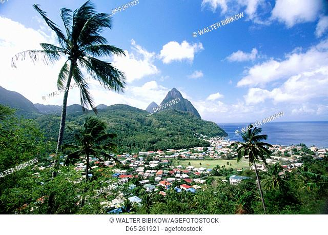 View of The Pitons from the northeast. Soufriere. Santa Lucia. West Indies. Caribbean