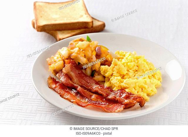 Plate of eggs, potatoes and bacon