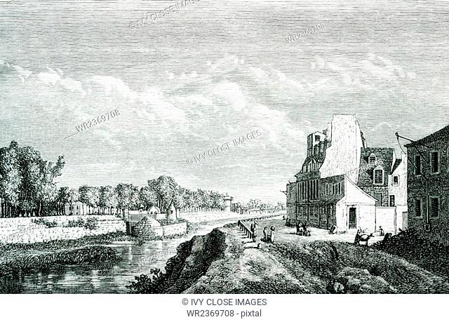 This view shows the ancient Arsenal and its gunpowder warehouse in Paris in the 1600s. The view is from the Contrescarpe Street