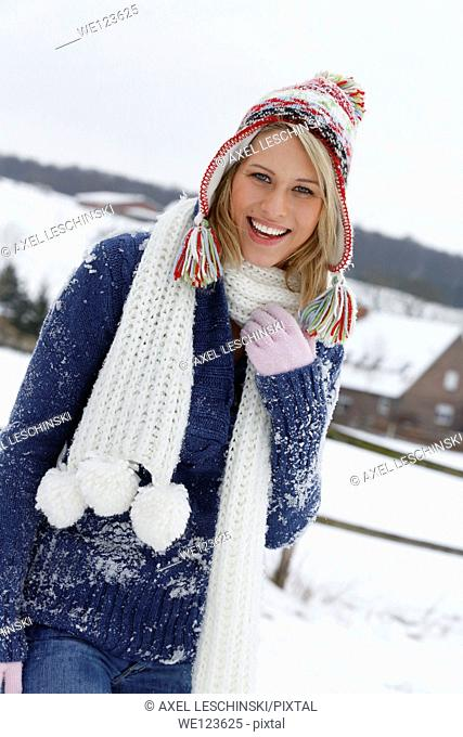 woman snow oudoor scarf happy