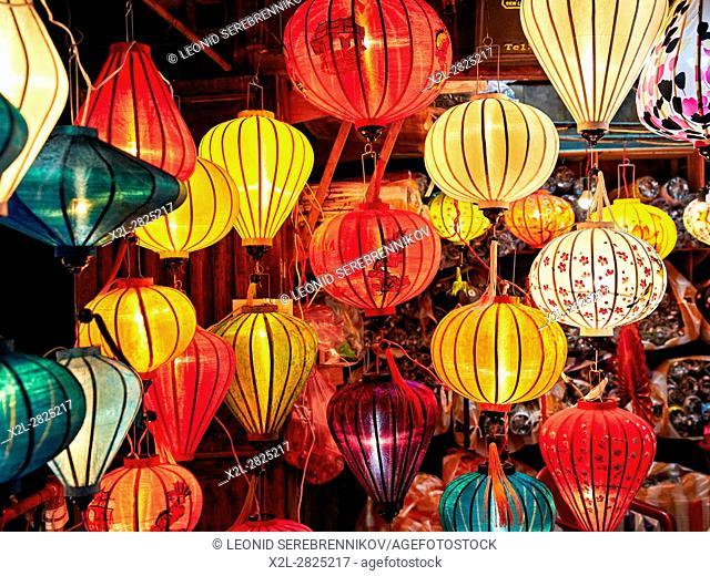 Lanterns displayed on the street market at night. Hoi An, Quang Nam Province, Vietnam