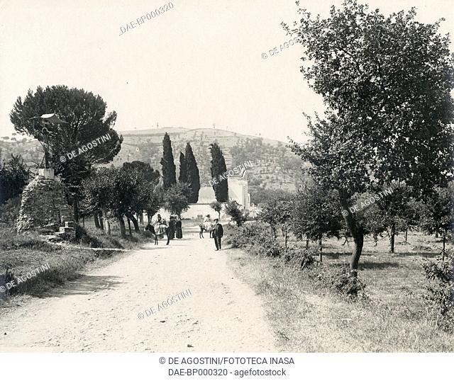 Via Appia with the old St Clementina cemetery in the background, Benevento, Campania, Italy, photograph from Istituto Italiano d'Arti Grafiche, Bergamo