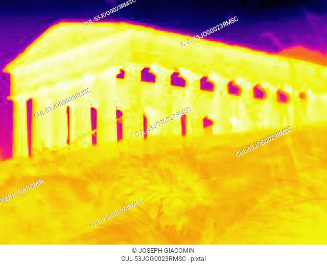 Thermal image of columned building