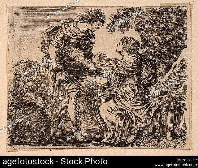 Meleager and Atalanta, from 'Game of Mythology' (Jeu de la Mythologie). Series/Portfolio: 'Game of Mythology' (Jeu de la Mythologie); Artist: Etched by Stefano...