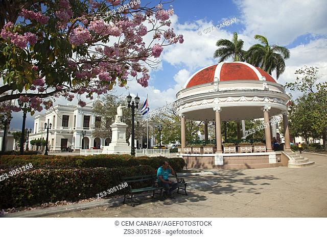 View to the Pavilion in Parque Jose Marti-Park Jose Marti with the Tomas Terry Theater-Teatro Tomas Terry at the background in the city center, Cienfuegos
