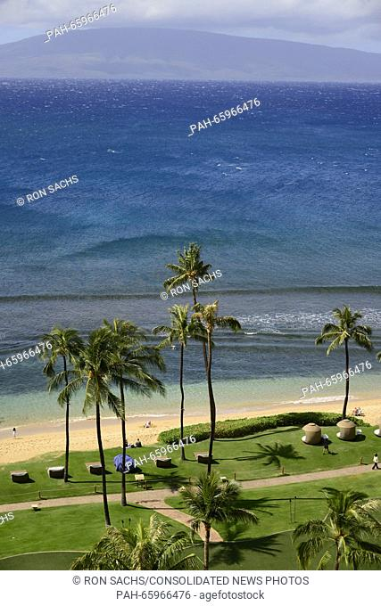 View looking west towards Lanai, one of the Hawaiian Islands, from Kaanapali Beach, Maui, Hawaii on Wednesday, February 17, 2016