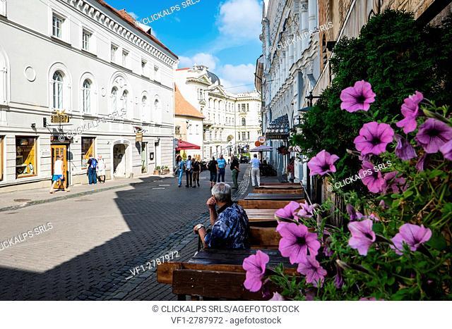 Vilnius, Lithuania, Europe. The main street in the Vilnius city center