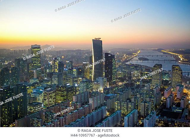 Korea, Asia, Seoul, Yeouido, aerial, apartments, architecture, blocks, center, city, colourful, financial, geometry, international, order, panorama, lights