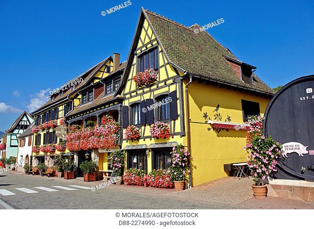France,Alsace,Bas-Rhin (67),Wine Route,Itterswiller,facade of houses,hotel restaurant Arnold,windows with flowers
