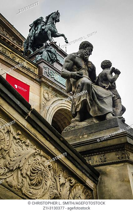 Architectural detail outside the National Gallery of Neoclassical art on Bodenstrasse in Berlin, Germany