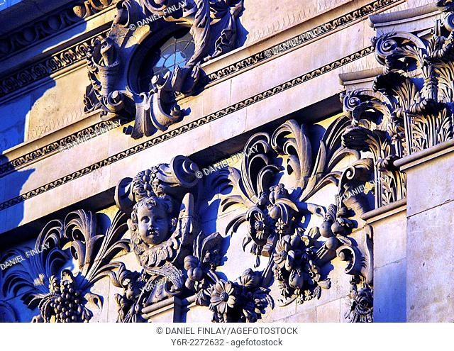 Decorative details on the west facade of St. Paul's Cathedral in the heart of London, England, on a sunny evening