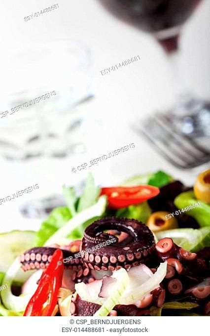 greek squid salad with onions