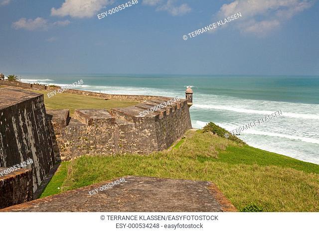 The walls of the San cristobal Castle overlooking the Caribbean Sea in san Juan, Puerto Rico, West Indies