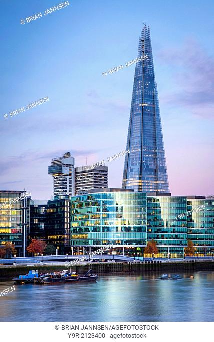 Early morning over The Shard, City Hall and the buildings of More London Development along the South Bank, London England, UK