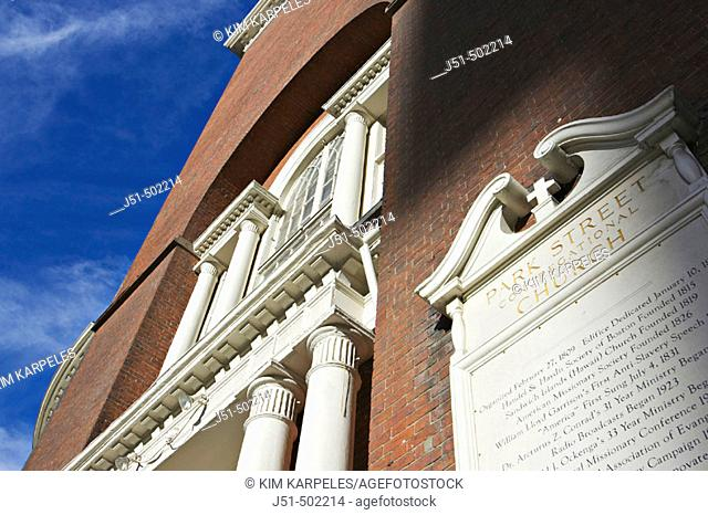 Massachusetts, Boston, Park Street Church, red brick exterior, sign with historic dates, building details, site along Freedom Trail