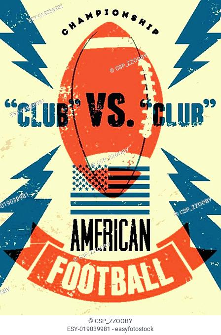 American football typographical vin