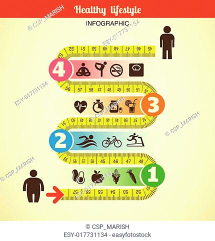 Fitness and diet infographic with measure tape