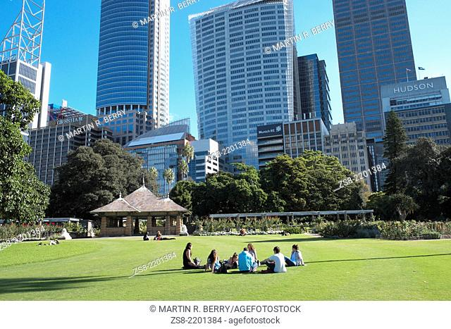 Royal Botanic Gardens with a view of Sydney city centre,NSW,Australia