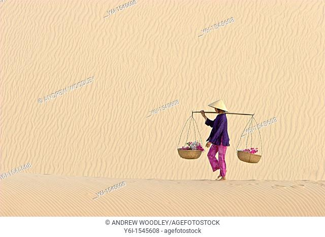Woman with conical hat carries flowers in pannier baskets across white sand dunes near Mui Ne Vietnam