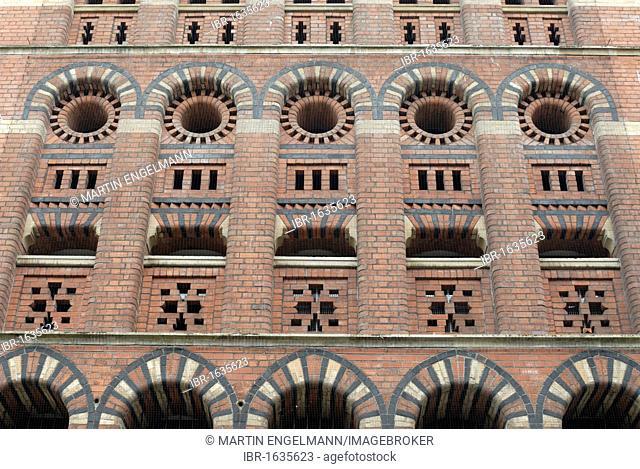 Basalt façade on the Granary building in Bristol Byzantine style, Bristol, Somerset, England, United Kingdom, Europe