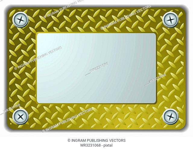 Golden metal mirror frame or name plate with textured finish