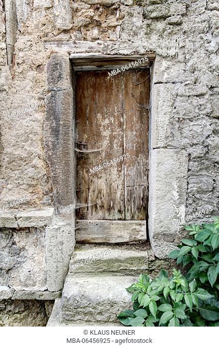 Front door, wooden door, Münnerstadt, Lower Franconia, Franconia, Bavaria, Germany, Europe