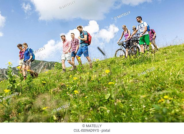 Group of friends mountain biking and hiking, Tyrol, Austria