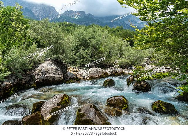 The Thethit river at the village of Theth With with the Radohima Massif in the background, Northern Albania